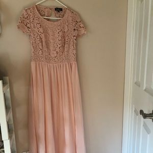 Blush bridesmaid dress with open back